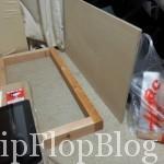 木枠にベニヤ板とアルミ板を重ねます。